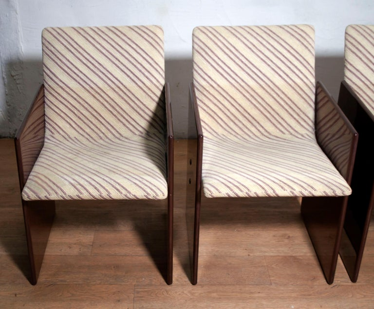 Giovanni Offredi Italian Dining Chairs Missoni Fabric by Saporiti, 1970s In Good Condition For Sale In Cerignola, Italy Puglia
