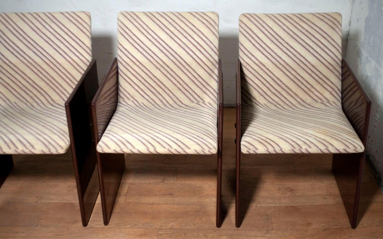 Late 20th Century Giovanni Offredi Italian Dining Chairs Missoni Fabric by Saporiti, 1970s For Sale