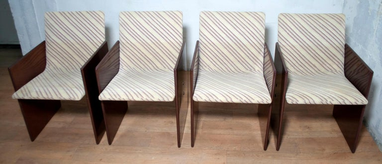 Giovanni Offredi Italian Dining Chairs Missoni Fabric by Saporiti, 1970s For Sale 1