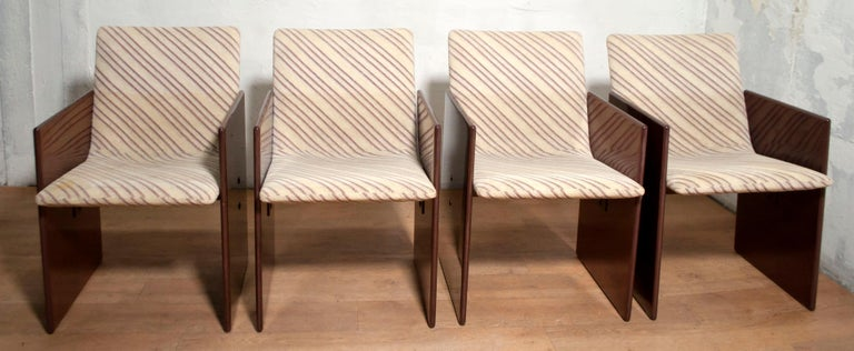 Giovanni Offredi Italian Dining Chairs Missoni Fabric by Saporiti, 1970s For Sale 2