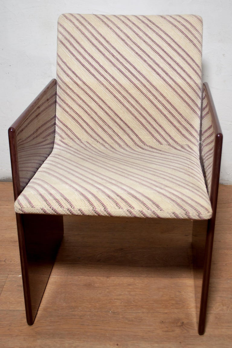 Giovanni Offredi Italian Dining Chairs Missoni Fabric by Saporiti, 1970s For Sale 4