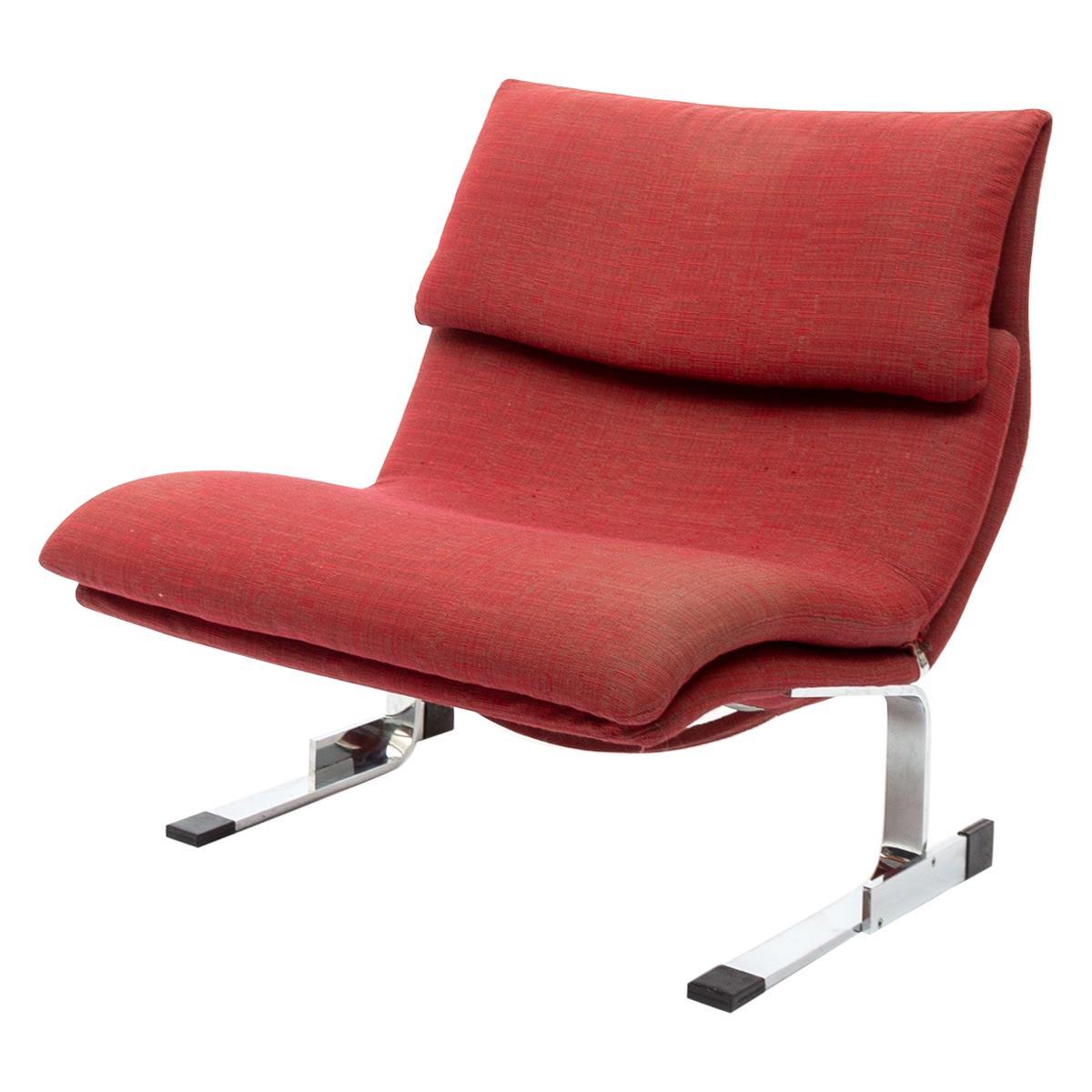 "Giovanni Offredi ""Onda"" Postmodern Wave Lounge Chair for Saporiti, 1970s"