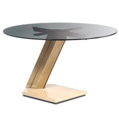 Giovanni Offredi Sunny Table Production Saporiti in Wood and Glass