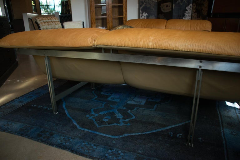 Steel Giovanni Offredi 'Wave' Leather Sofa by Saporiti, Italy For Sale