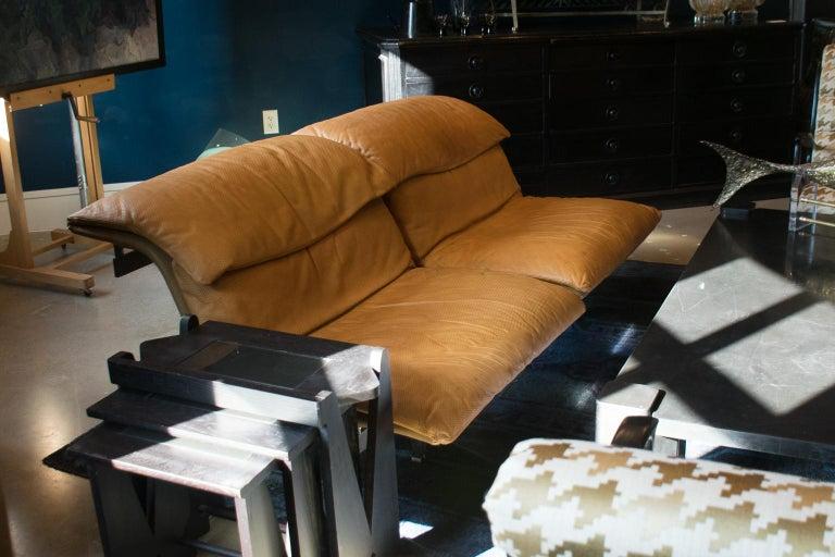 Italian Giovanni Offredi 'Wave' Leather Sofa by Saporiti, Italy For Sale