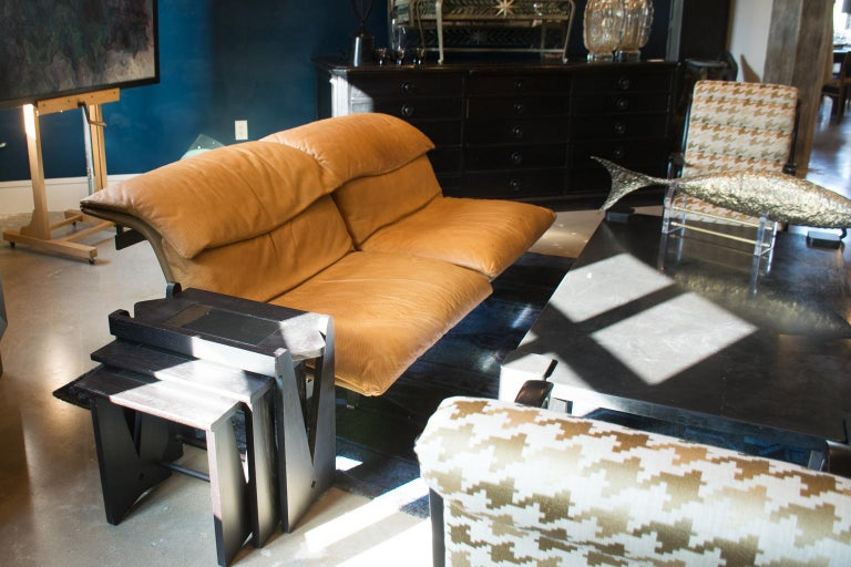 Brushed Giovanni Offredi 'Wave' Leather Sofa by Saporiti, Italy For Sale