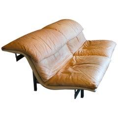 Giovanni Offredi 'Wave' Leather Sofa by Saporiti, Italy