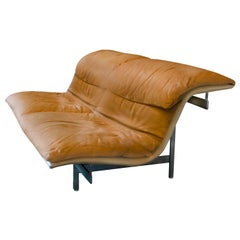 Giovanni Offredi 'Wave' Leather Sofa by Saporiti, Italy