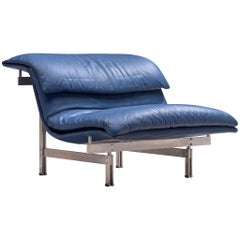 Giovanni Offredi 'Wave' Lounge Chair in Night Blue Leather