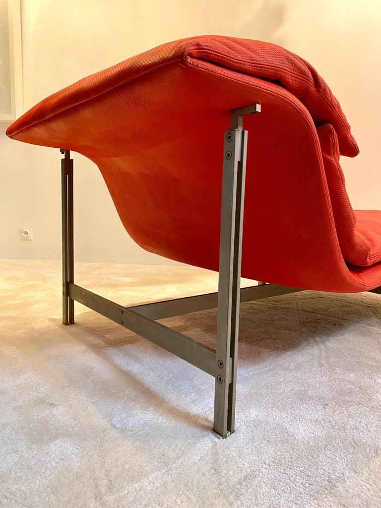 """Metal Giovanni Offredi """"Wave"""" Lounge Chair for Saporiti, 1974 For Sale"""
