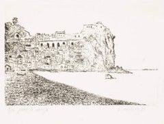 Cinque terre - Italy - Original Etching by G. Omiccioli - 1971