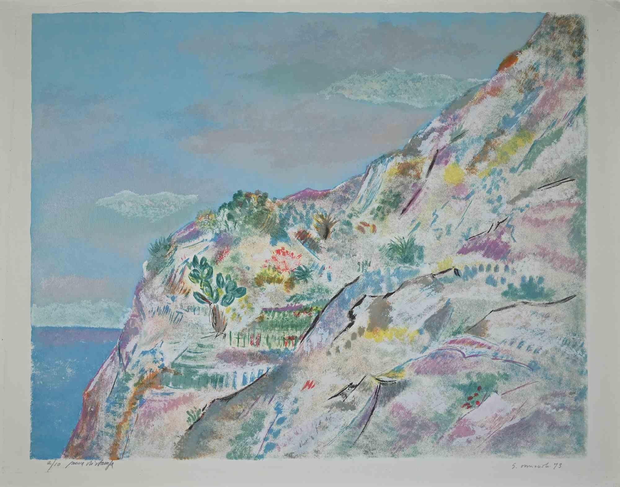 Cliffs - Original Lithograph by Giovanni Omiccioli - 1973