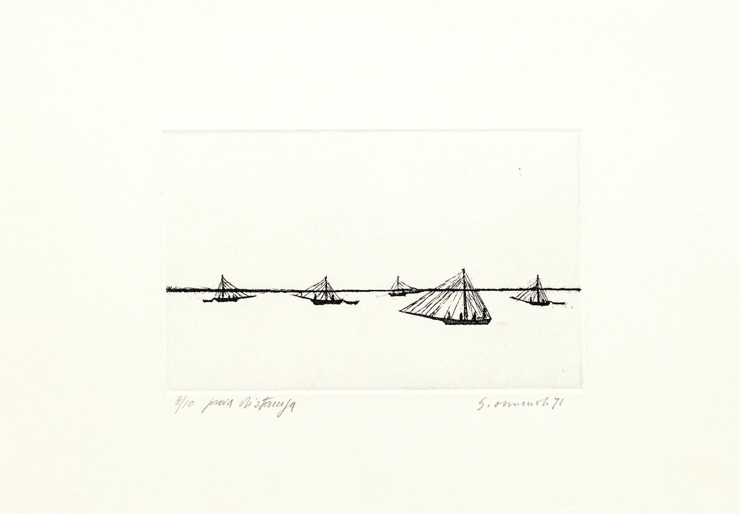 Fishing - Original Etching on Cardboard by Giovanni Omiccioli - 1971