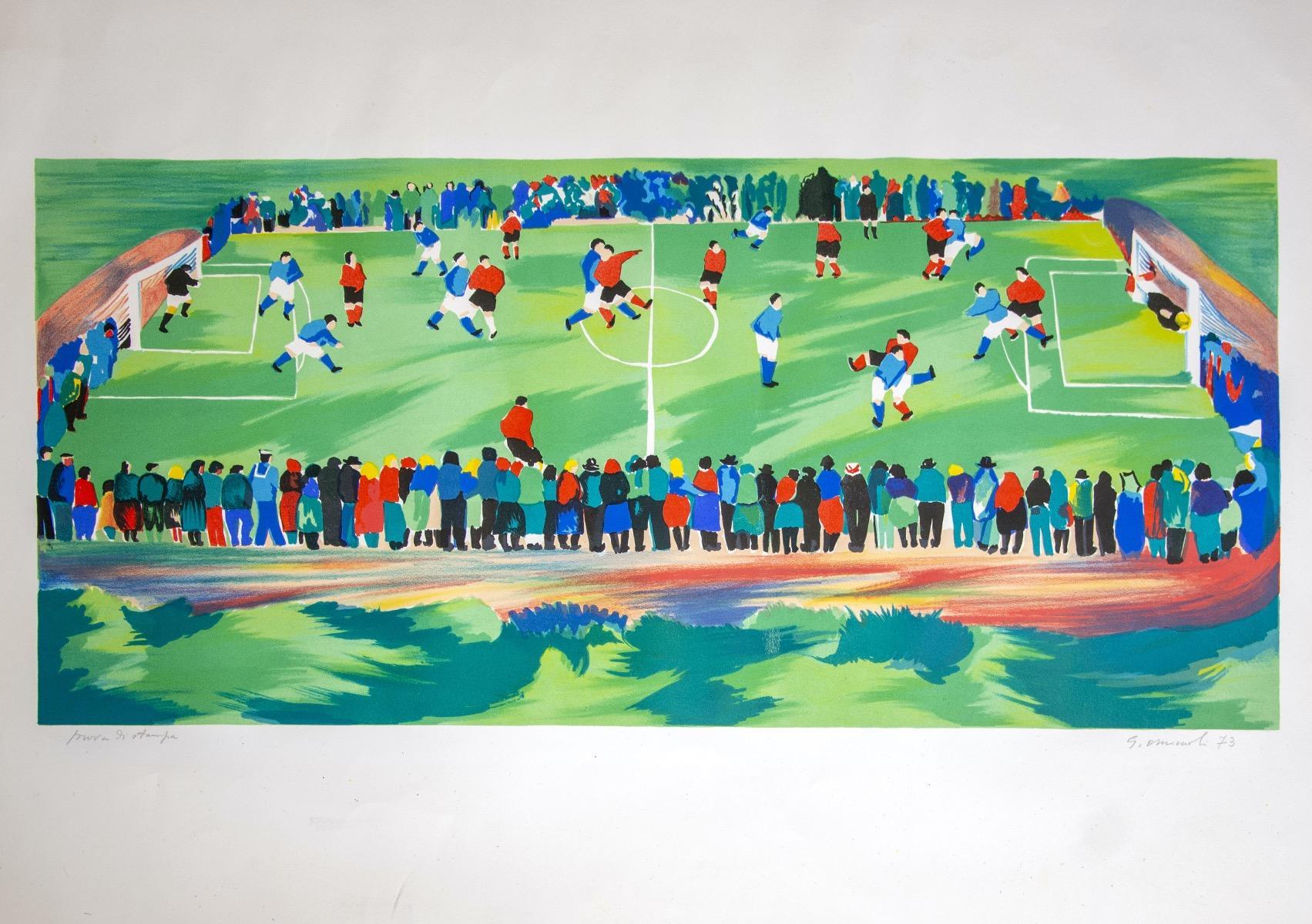 Football Match - Original Lithograph by Giovanni Omiccioli - 1973