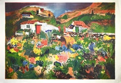 Gardens in Scilla - Original Lithograph by Giovanni Omiccioli - 1971