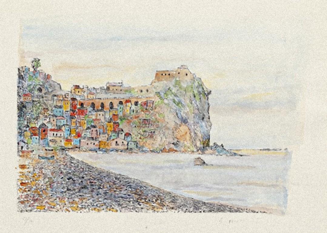 Landscape - Original Etching on Cardboard by Giovanni Omiccioli - 20th Century