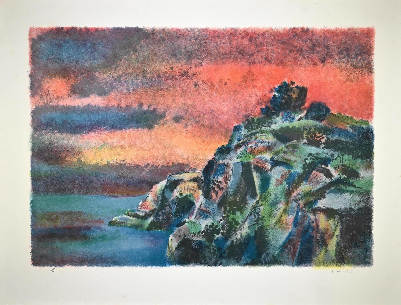 Landscape - Original Lithograph by Giovanni Omiccioli - 1971