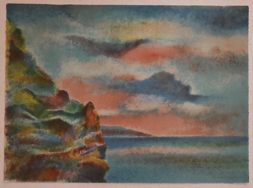 Landscape - Original Lithograph on Cardboard by Giovanni Omiccioli - 1971