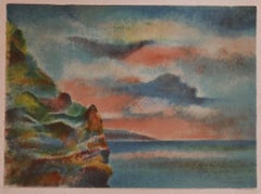Landscape - Original Lithograph on Cardboard by Giovanni Omiccioli - 1971