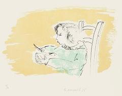 Ornella Writing - Italy - Original Lithograph by G. Omiccioli - 1975