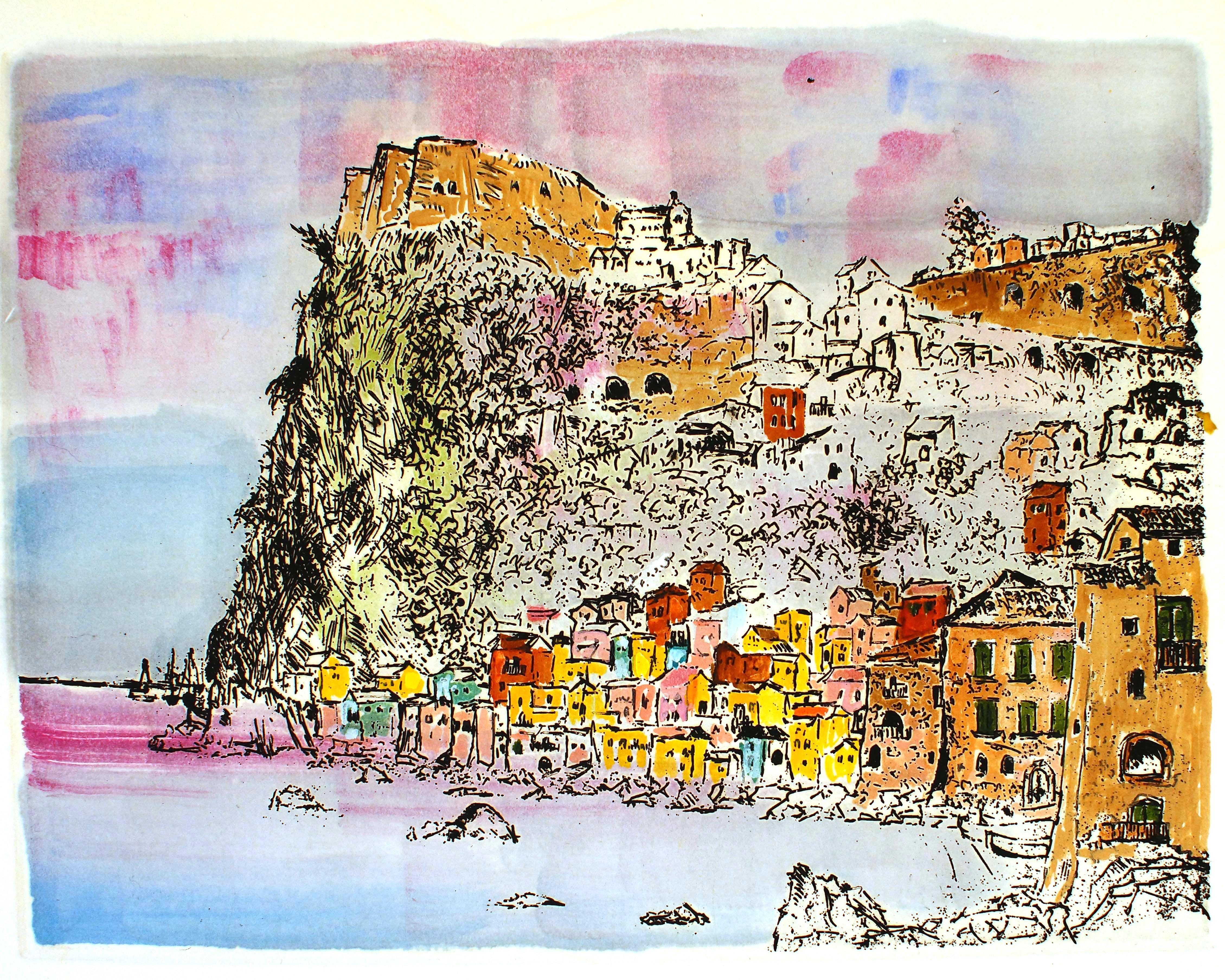 Scilla - Hamletunder the Cliff - Etching and Watercolor by G. Omiccioli