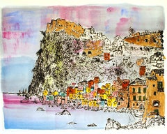 Scilla - Hamlet under the Cliff - Etching and Watercolor by G. Omiccioli
