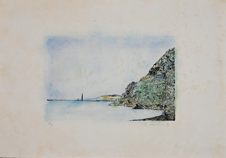 Scilla is a beautiful etching on cardboard, realized in 1971 by the Italian artist Giovanni Omiccioli (Rome, 1901-1975).   Hand-signed in pencil on the lower right and dated. Numbered on the lower left, edition of 71/80 prints.  In good conditions