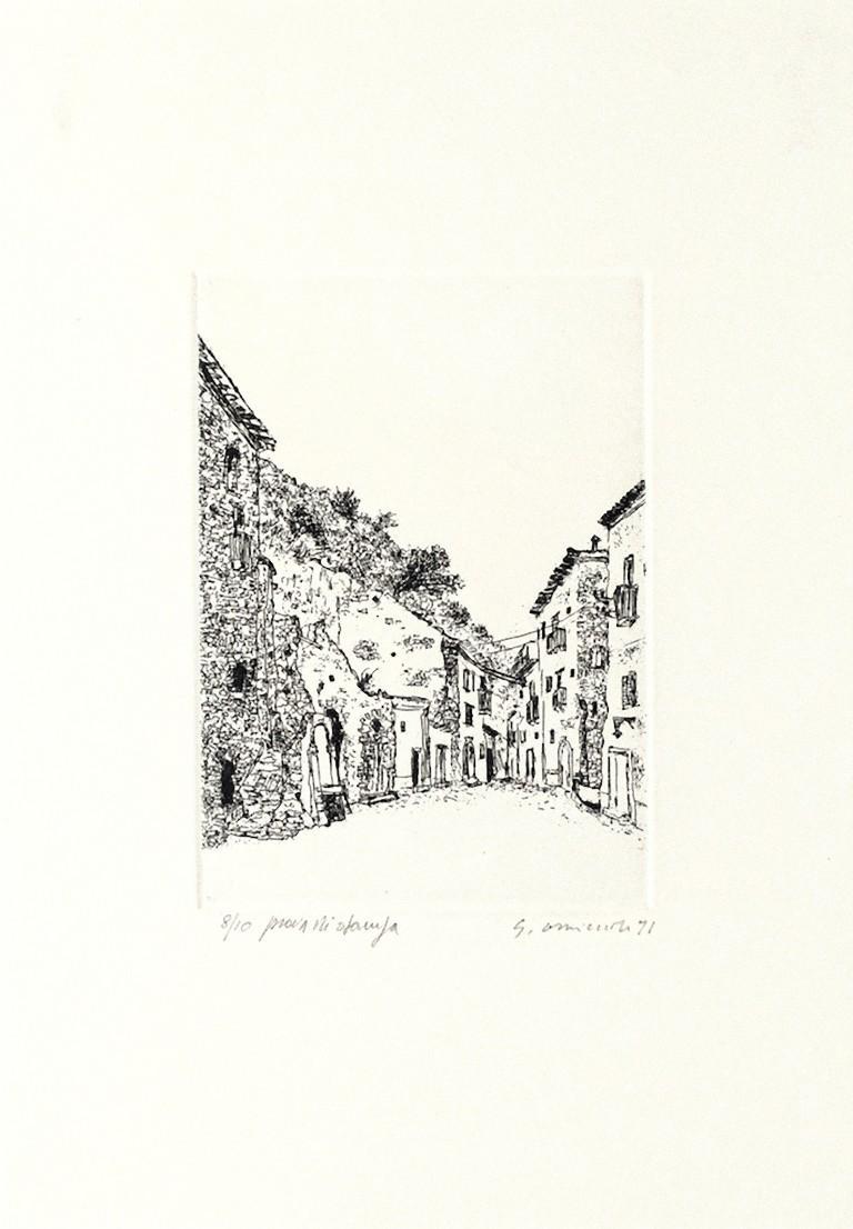 Scilla - Original Etching on Cardboard by Giovanni Omiccioli - 1971