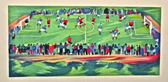 Soccer Pitch - Italy - Original Lithograph by G. Omiccioli - 1973