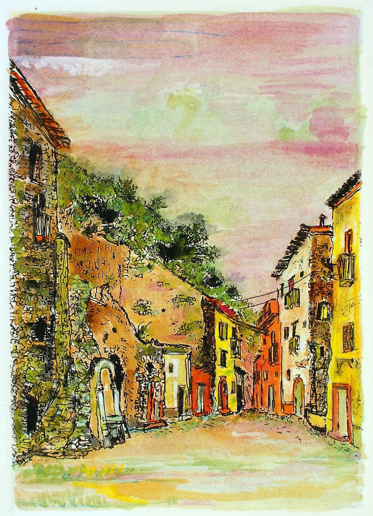 Giovanni Omiccioli Figurative Print - Sunset in the Alleys - Original Etching and Watercolor by G. Omiccioli