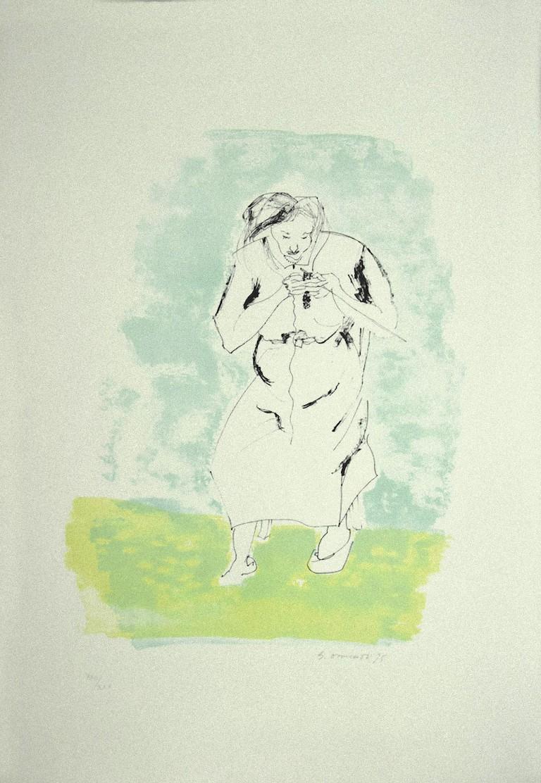 The Woman - Original Lithograph by Giovanni Omiccioli - 1975