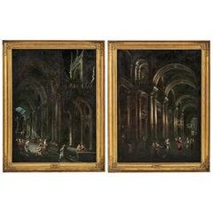 Giovanni Paolo Panini 'Follower' Pair of Paintings, 18th Century