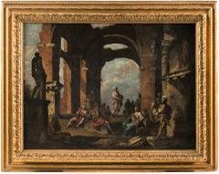 18th century Italian landscape figures painting - Pannini Oil on canvas panini