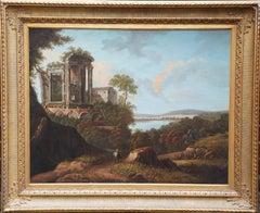 Italian Landscape with Temple of Sibyl, Tivoli - Italian Old Master oil painting