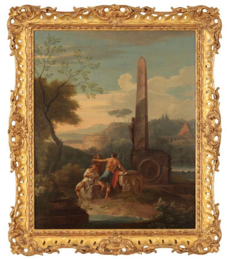 Pair of 19th century Italian capriccio landscape paintings, Follower of Panini