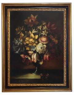 FLOWERS - Dutch School - Still Life Oil on Canvas Italian Painting