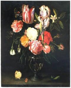 FLOWERS - Italian still life oil on canvas painting, Giovanni Perna