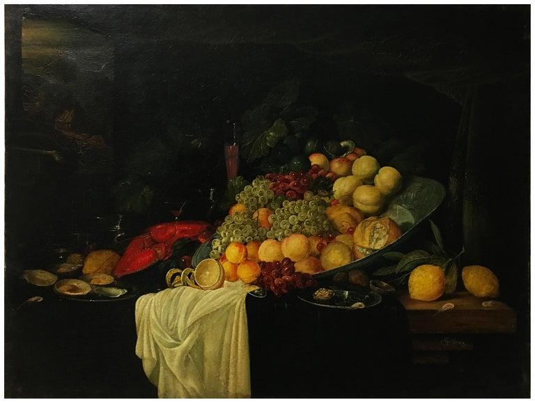 STILL LIFE - Dutch School - Oil on Canvas Italian Painting - Black Still-Life Painting by Giovanni Perna