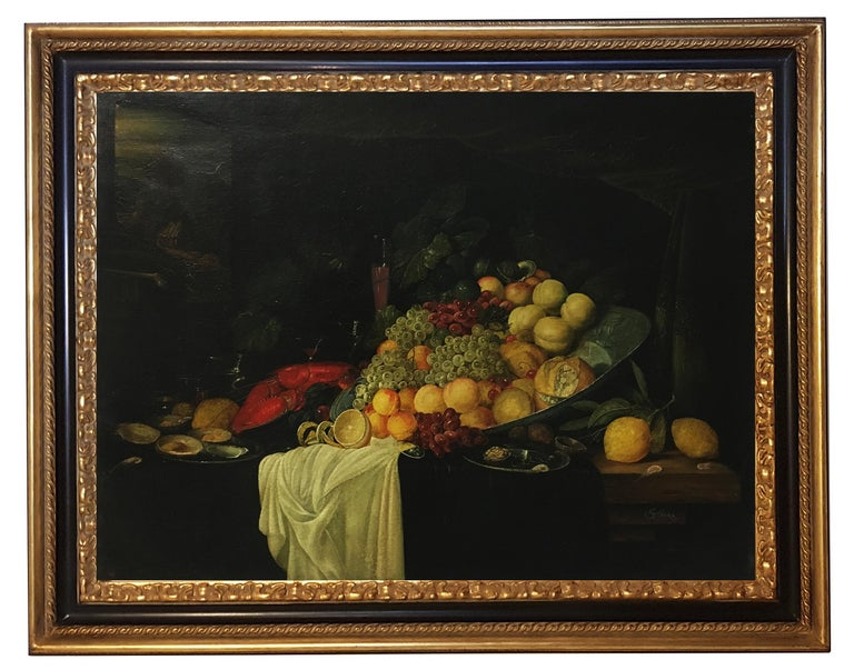 Giovanni Perna Still-Life Painting - STILL LIFE - Dutch School - Oil on Canvas Italian Painting
