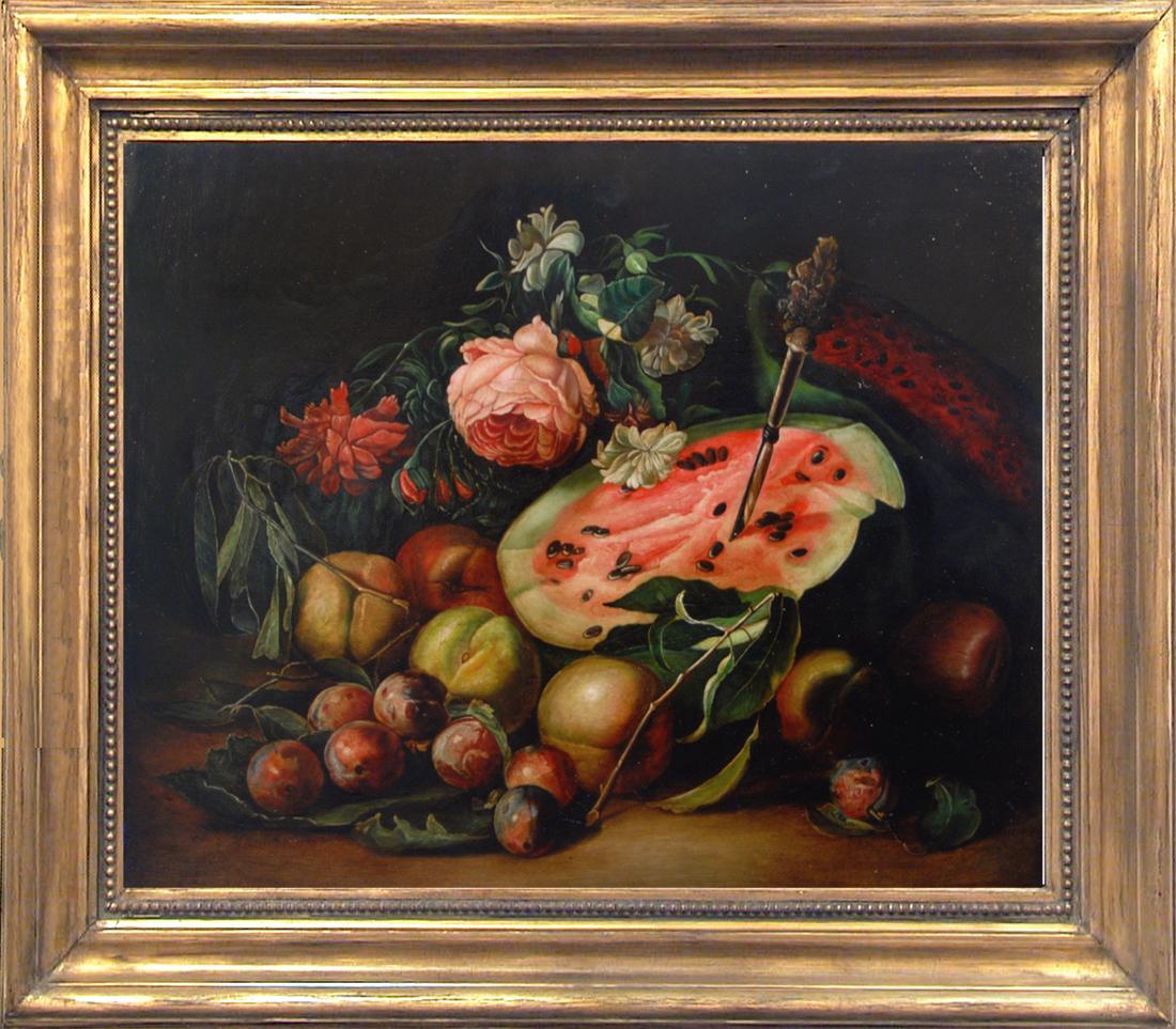 STILL LIFE - Dutch School - Still life Oil on Canvas Italian Painting