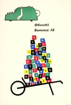 Original Vintage Midcentury Design Poster - Olivetti Summa 15 Mechanical Machine