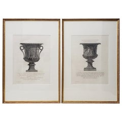 Giovanni Piranesi, Pair of Framed Marble Vases Etchings