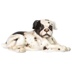 Giovanni Ronzan Italian Midcentury Art Pottery Resting Dog Figure