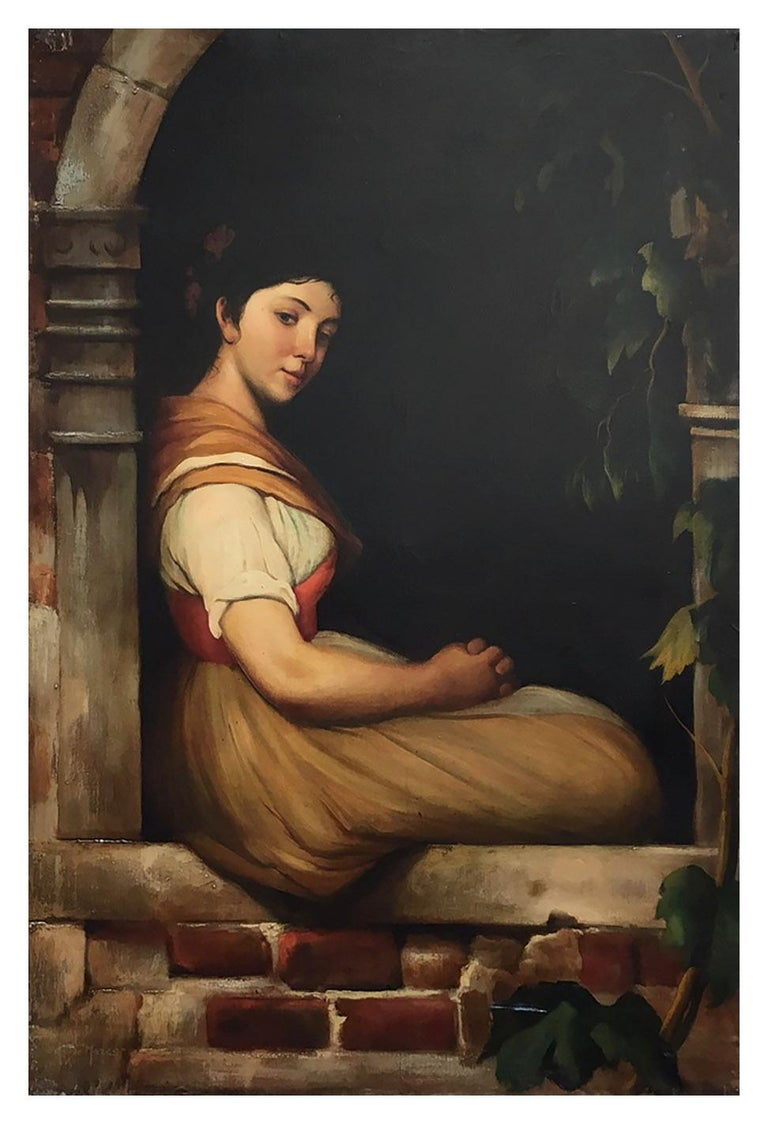 CHILD- In the Manner of  W.A. Bouguereau Figurative Italian Oil on Canvas  Paint - Painting by Giovanni Santaniello