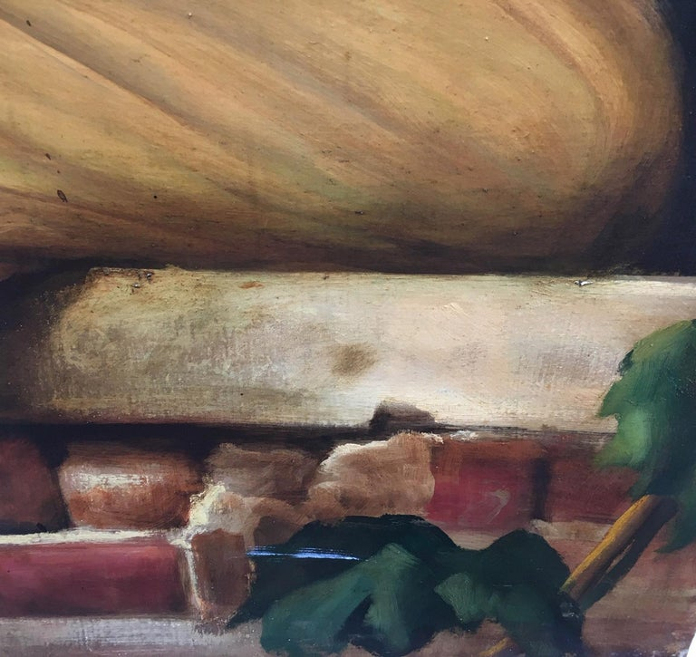 Child - Oil on canvas cm.90x60, Giovanni Santaniello, Italy 2002 Gold gilded wooden frame available on request The painting by Giovanni Santaniello depicts a young girl sitting under a stone arch, the painting is inspired by the great French painter