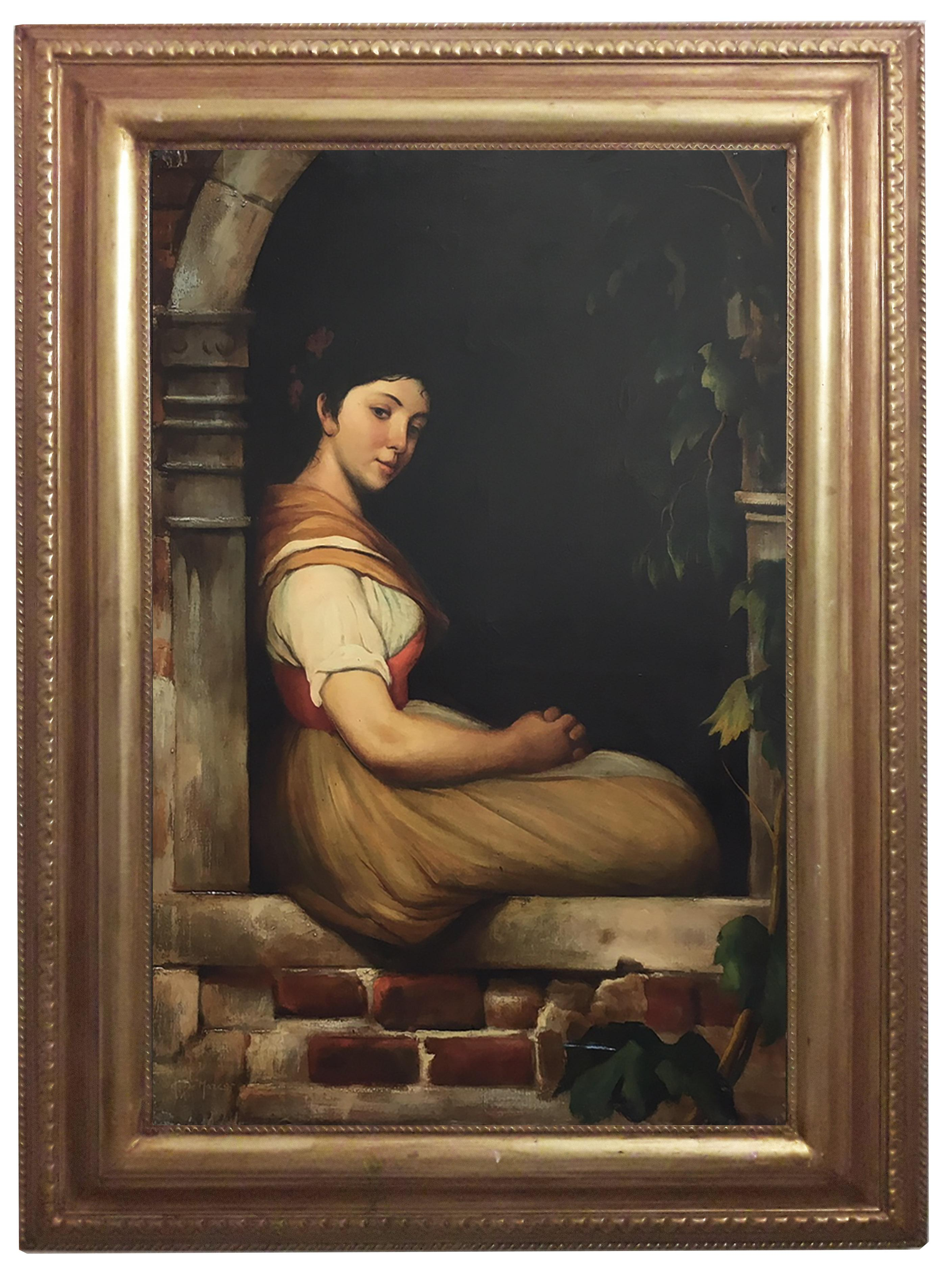 CHILD- In the Manner of  W.A. Bouguereau Figurative Italian Oil on Canvas  Paint