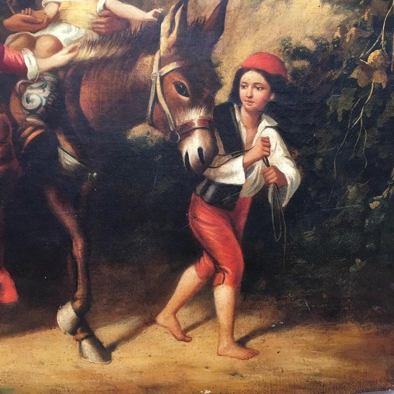 COUNTRY SCENE- Italian School - Figurative Italian Oil on Canvas  Painting For Sale 7