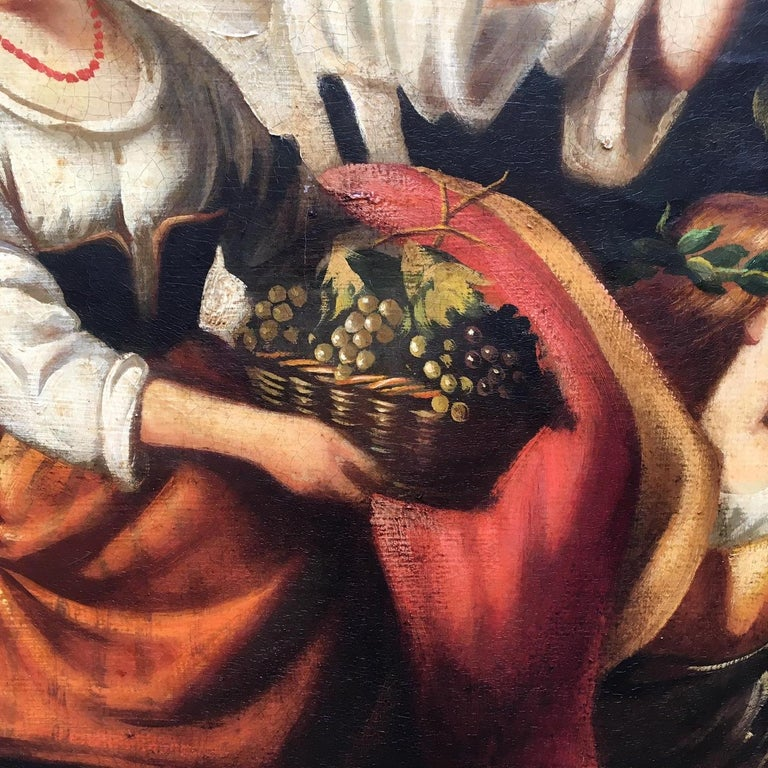 COUNTRY SCENE- Italian School - Figurative Italian Oil on Canvas  Painting For Sale 10