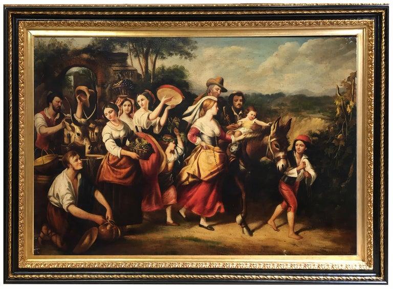 COUNTRY SCENE- Italian School - Figurative Italian Oil on Canvas  Painting - Brown Figurative Painting by Giovanni Santaniello