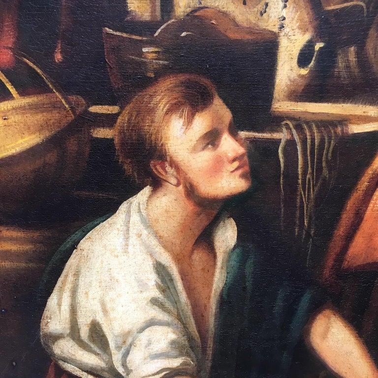 COUNTRY SCENE- Italian School - Figurative Italian Oil on Canvas  Painting For Sale 1
